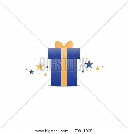 Special gift, blue box with yellow ribbon and stars, best present idea concept, creative perfect gift, surprise box package, reward icon, vector flat illustration