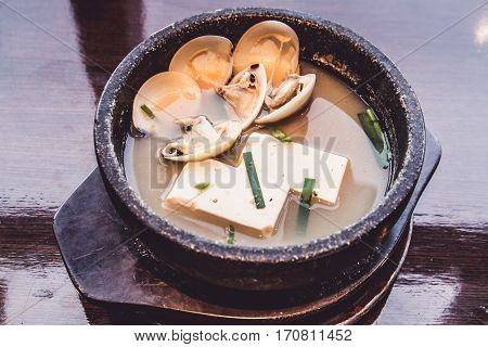 Miso Soup with tofu and shell Japanese food