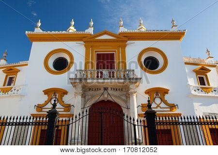 Seville Spain - November 192016: Bullfight arena plaza de toros at Sevilla.Seville Real Maestranza bullring plaza toros de Sevilla in andalusia Spain