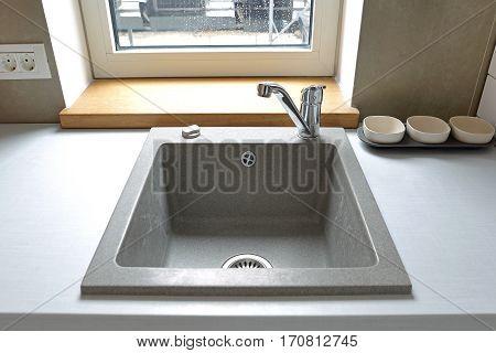 Square Quartz Composite Sink in Contemporary Kitchen