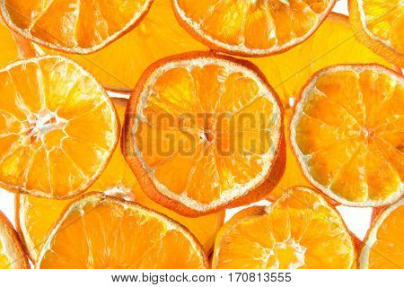 Background from slices of dried orange fruit