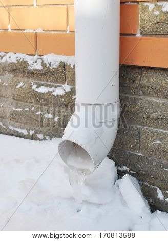 Frozen Gutter Downspout Pipeline with Ice. Gutters frozen solid.