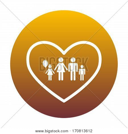 Family sign illustration in heart shape. White icon in circle with golden gradient as background. Isolated.