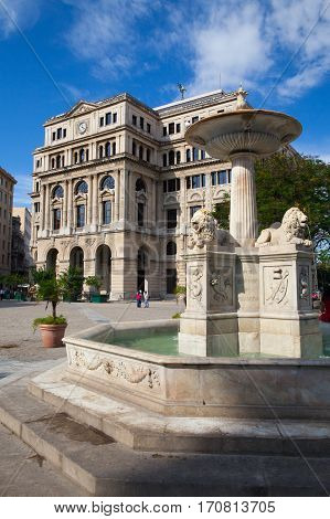 Havana Cuba - January 22 017: Lonja del Comercio building on Plaza de San Francisco de Asis square in Havana Vieja.It served as the stock exchange in the capital until the 1959 Cuban Revolution
