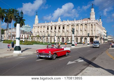Havana Cuba - January 21 2017: The Great Theatre of Havana in Havana Cuba.The theatre has been home to the Cuban National Ballet