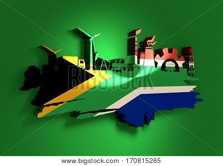 Energy and Power icons set and grunge brush stroke. Energy generation and heavy industry relative image. Agriculture and transportation. Flag of the South Africa. 3D rendering