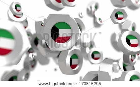 Nuts levitation group with flag of the Kuwait. Shallow depth of focus. 3D rendering