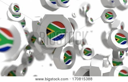 Nuts levitation group with flag of the South Africa. Shallow depth of focus. 3D rendering