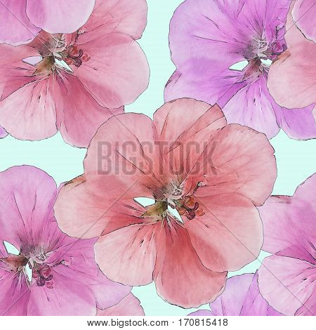 Geranium cranesbill pelargonium. Colorful texture of pressed dry flowers. Seamless pattern for continuous replicate. Beautiful photo collage.