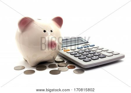 Piggybank and money on white background, closeup
