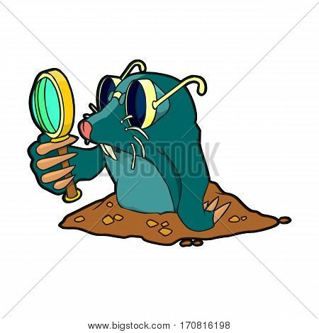 cartoon mole with glasses with a magnifying glass