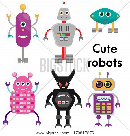 Cute robots character set. vector illustration isolated design elements stickers for kids