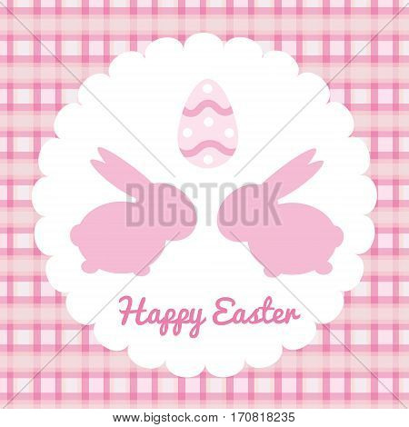 pink easter greeting card with bunny silhouete and egg. Vector background illustration