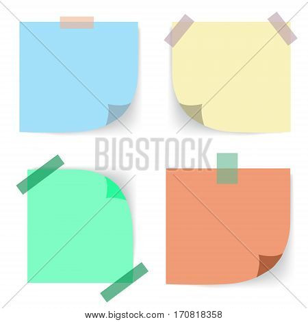 Realistic sticky notes sheets with curved corner. Vector mock up blank template. Office business design elements. Empty paper reminders hanging with adhesive tape