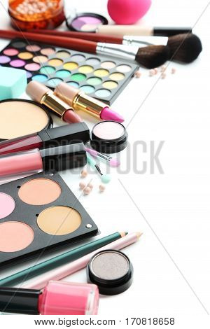 Different Makeup Cosmetics On White Background