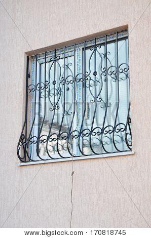 KYIV UKRAINE - February  14 2017:  Window iron security bars