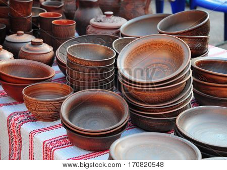 Traditional Ceramic Jugs. Handmade Ceramic Pottery with Ceramic Pots and Clay Plates.