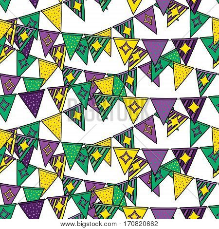 Mardi Gras seamless pattern. Background with flags in yellow, green and purple colors. Vector illustration