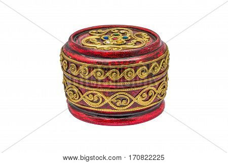 Red Round Shape Thai Bowl/ Pot Lacquerware