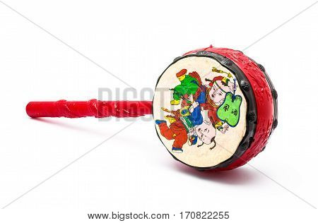 Small Drum Traditional Chinese Toy for Kid Isolated
