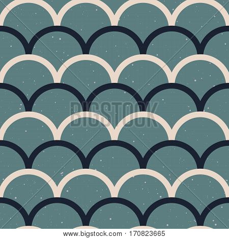 Abstract seamless pattern. Japanese style, fish scale. Blue and white colors. Vector design for fabric, wallpaper and wrap.