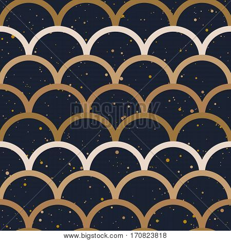Abstract seamless pattern. Japanese style, fish scale. Gold colors, splash on a black background. Vector design for fabric, wallpaper and wrap.
