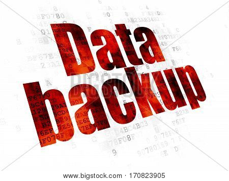 Data concept: Pixelated red text Data Backup on Digital background