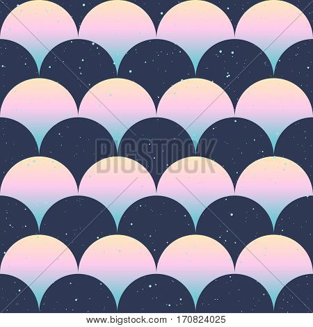 Seamless pattern. Japanese style. Gradient fish scale. Blue, indigo, pink colors. Vector design for fabric, wallpaper and wrap.