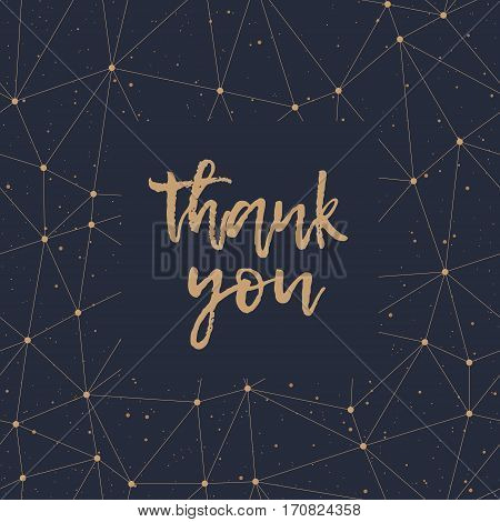 Thank You greeting card. Abstract geometric gold polygonal pattern and dots on a black background. Golden lettering and texture. Vector illustration.