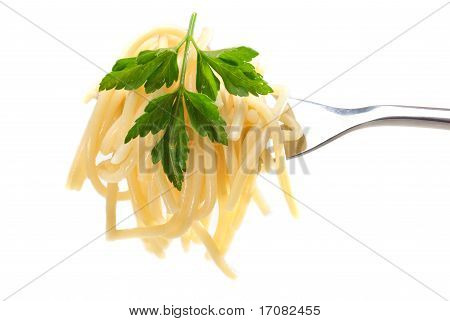 Homemade Organic Spaghetti Wrapped Around A Fork