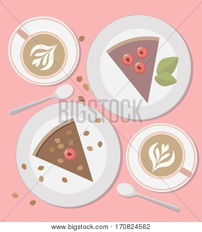 Cappuccino and sweet cakes top view. Illustration