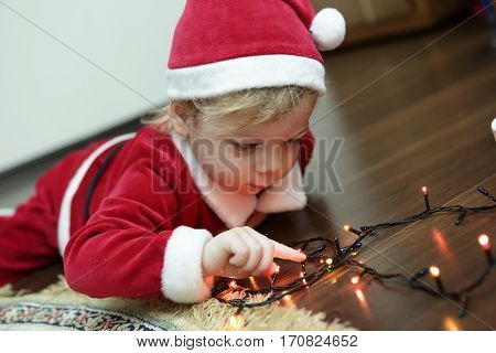 Christmas Boy In Santa Hat