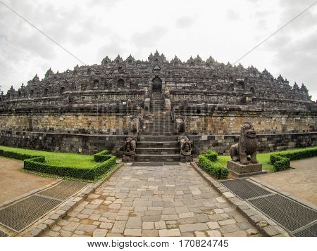 A fisheye view of the ancient temple of Borobudur near Yogyakarta Indonesia.
