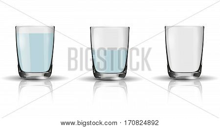 Glass Of Sparkling Water, Half Full Glass And Empty Glass