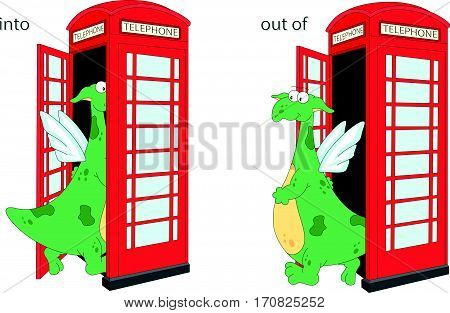 Cartoon Dragon Goes Into And Out Of Telephone Box. English Grammar In Pictures