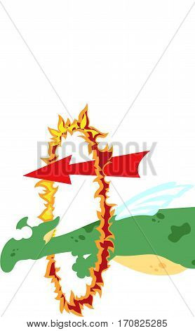 Cartoon Dragon Twists Around The Pole. English Grammar In Pictures