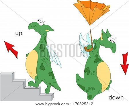 Cartoon Dragon Goes Up The Stairs And Flies Down With An Umbrella. English Grammar In Pictures