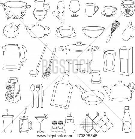 Set Of Cartoon Tableware