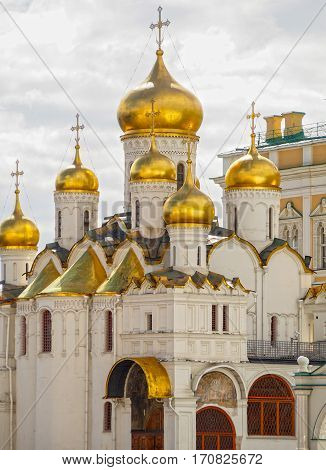 Golden domed Russian Orthodox Cathedral of the Annunciation on Cathedral Square inside the Kremlin in Moscow Russia.