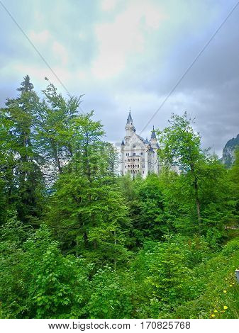 The historic white Neuschwanstein castle nestled in the forests of Germany.