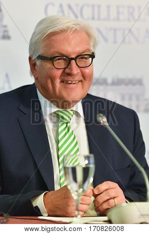 Buenos Aires, Argentina - Jun 2, 2016: Minister for Foreign Affairs of Germany Frank-Walter Steinmeier at a conference during his visit to Buenos Aires