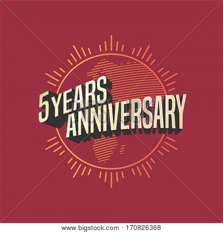5 years anniversary vector icon, logo. Graphic design element for decoration for 5th anniversary card