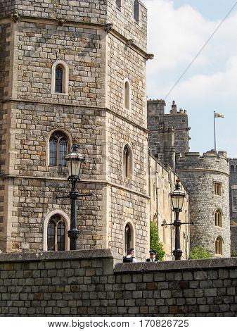 The Queen's residence Windsor Castle near London England.