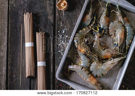 Uncooked Soba Noodles And Shrimps