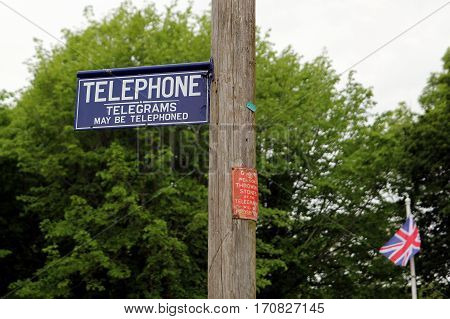 Dorset, Uk - May 31St 2016: Vintage British Telephone Telegraph And Telegram Signs On A Traditional