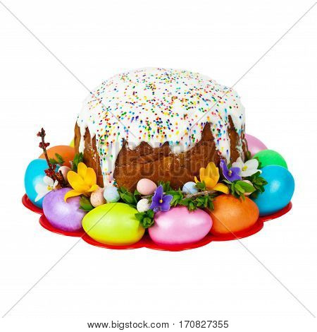Russian and Ukrainian Traditional Easter Cake Isolated on white background. Selective focus.