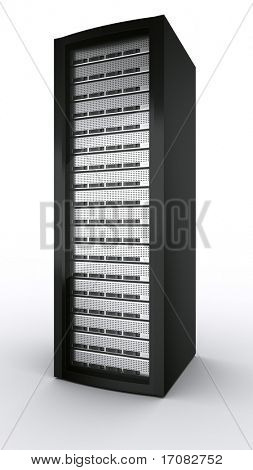 3d rendering a rack server on white background.