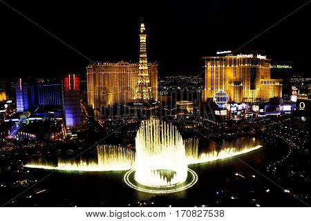 LAS VEGAS, USA - Oct 28: Fountains of Bellagio on Oct 28, 2015 in Las Vegas. Fountains of Bellagio, which have featured in several movies, is a large dancing water fountain synchronized to music.