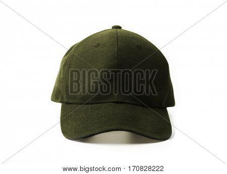 khaki or moss green cap isolated on white.