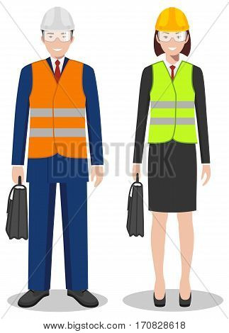 Couple of american, european people isolated on white background. Set of engineers, business man and woman standing together. Cute and simple in flat style.